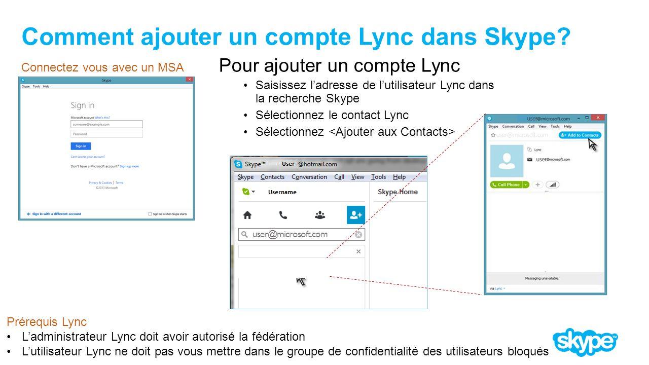 Comment ajouter un compte Lync dans Skype