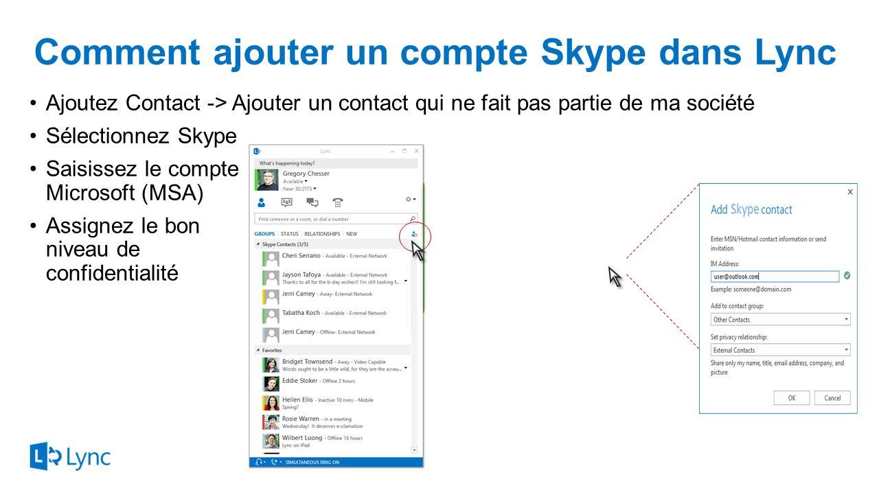 Comment ajouter un compte Skype dans Lync
