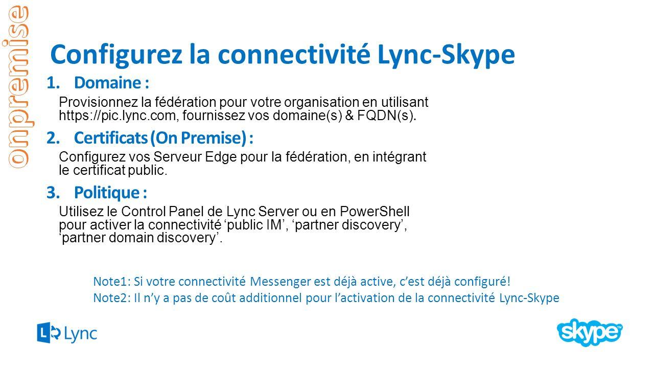 Configurez la connectivité Lync-Skype