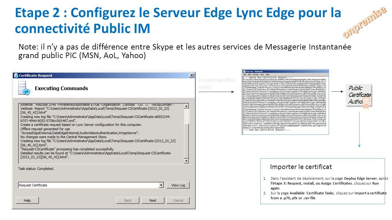 Etape 2 : Configurez le Serveur Edge Lync Edge pour la connectivité Public IM