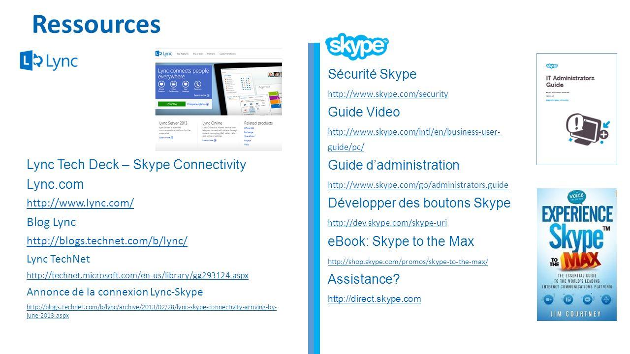 Ressources Sécurité Skype Guide Video Guide d'administration