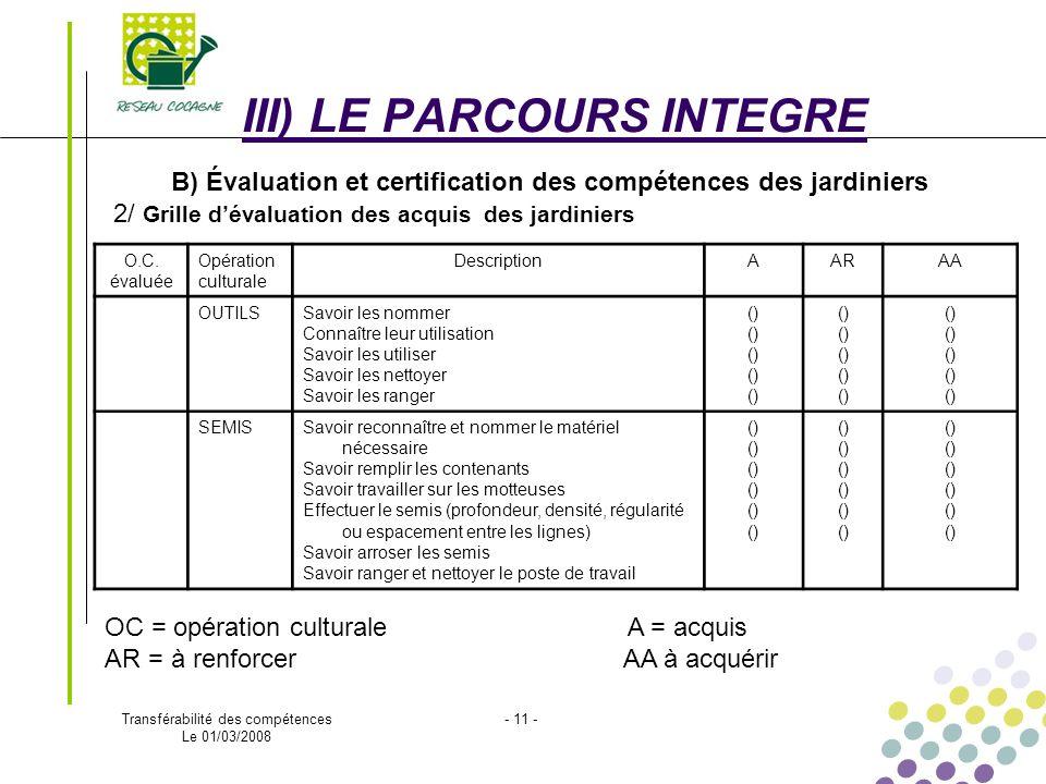 Evaluation des comp tences transf rables des jardiniers - Grille d evaluation des competences infirmieres ...