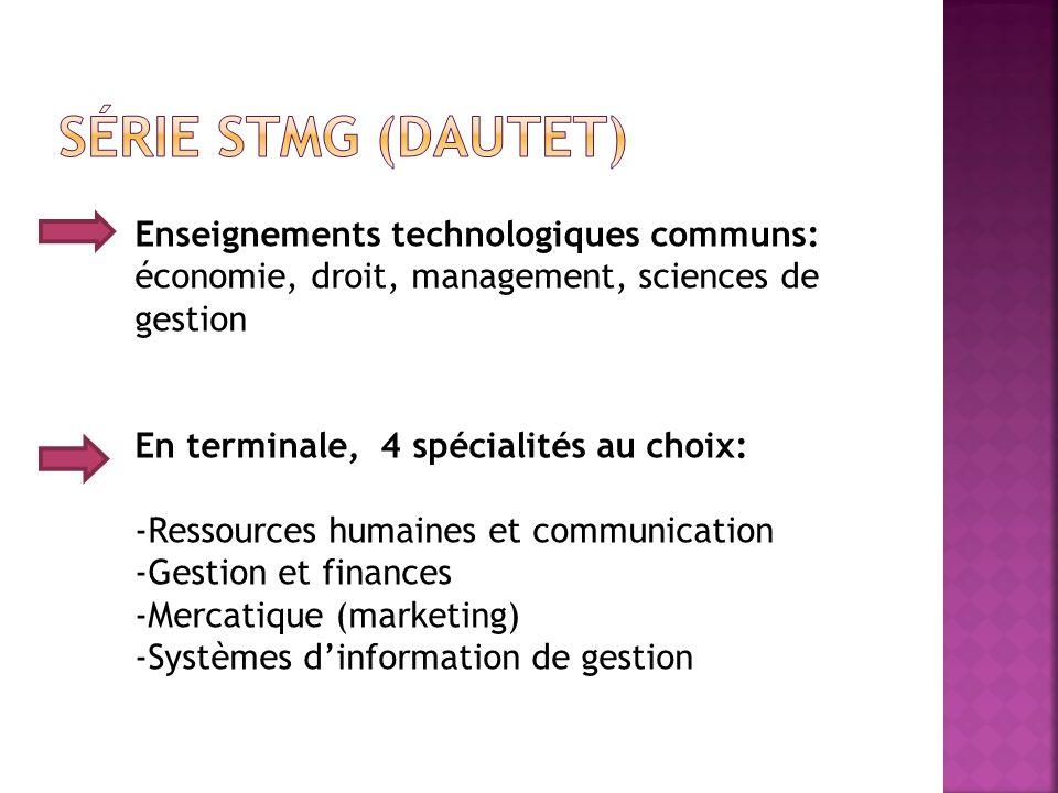 Série STMG (Dautet) Enseignements technologiques communs: économie, droit, management, sciences de gestion.