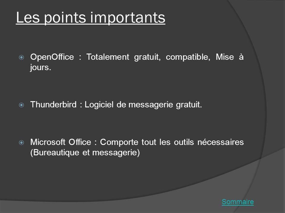 Les points importants OpenOffice : Totalement gratuit, compatible, Mise à jours. Thunderbird : Logiciel de messagerie gratuit.