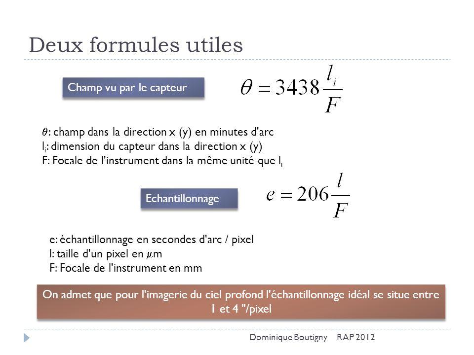 Deux formules utiles Champ vu par le capteur