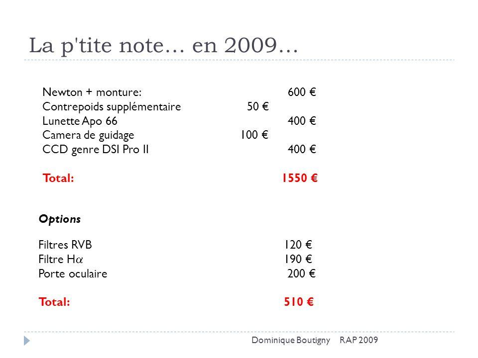 La p tite note… en 2009… Newton + monture: 600 €