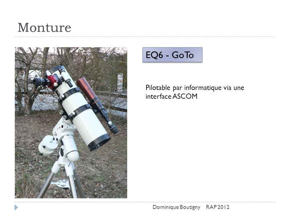 Monture EQ6 - GoTo Pilotable par informatique via une interface ASCOM