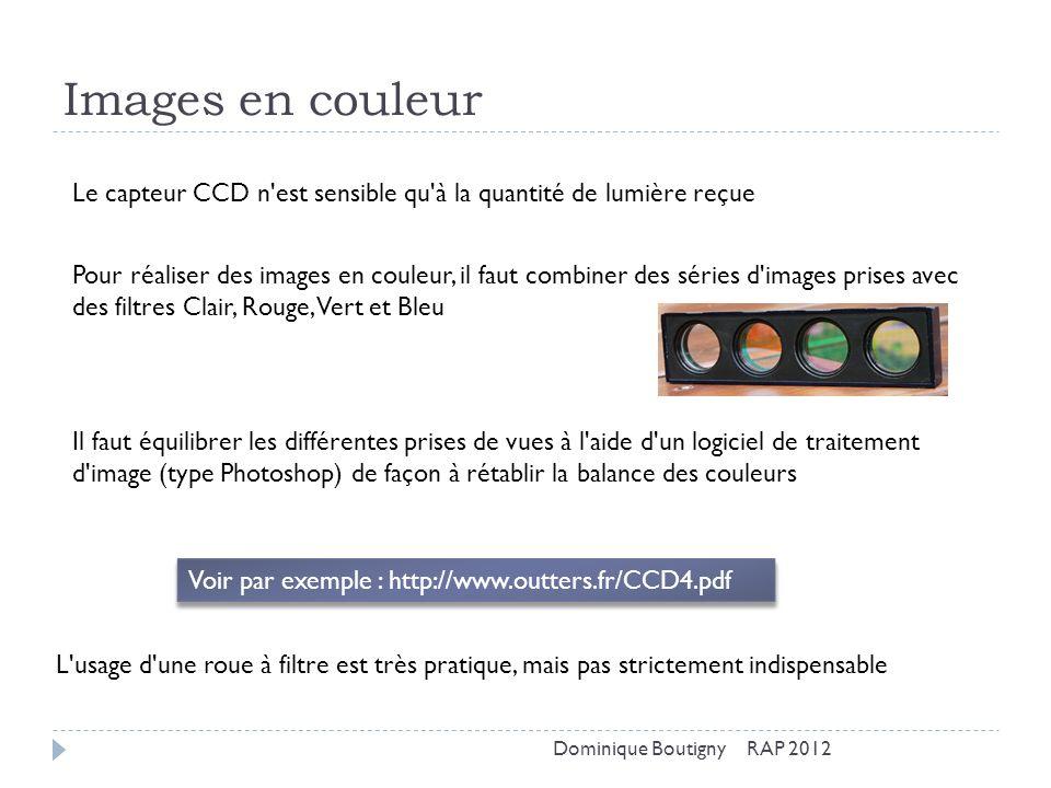 Images en couleur Le capteur CCD n est sensible qu à la quantité de lumière reçue.