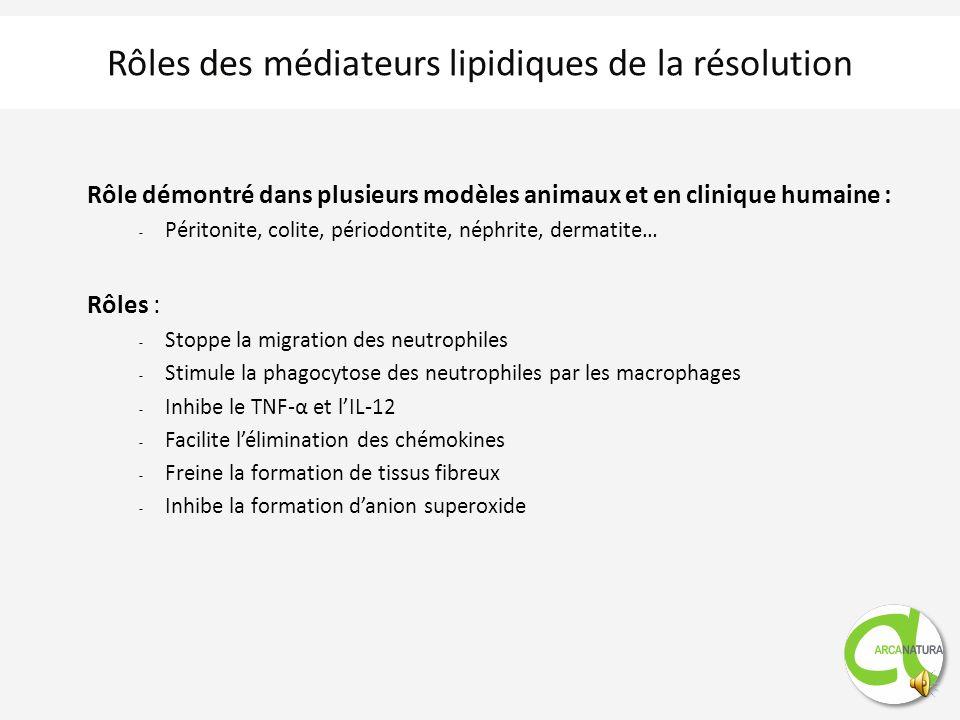 Rôles des médiateurs lipidiques de la résolution