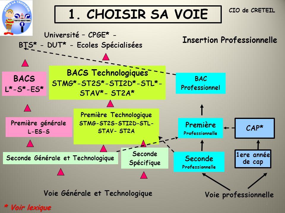 1. CHOISIR SA VOIE Insertion Professionnelle BACS Technologiques BACS