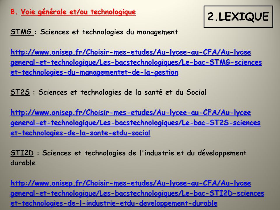 2.LEXIQUE STMG : Sciences et technologies du management