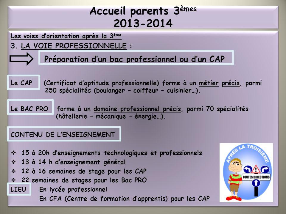 Accueil parents 3èmes 2013-2014 Les voies d'orientation après la 3ème. 3. LA VOIE PROFESSIONNELLE :