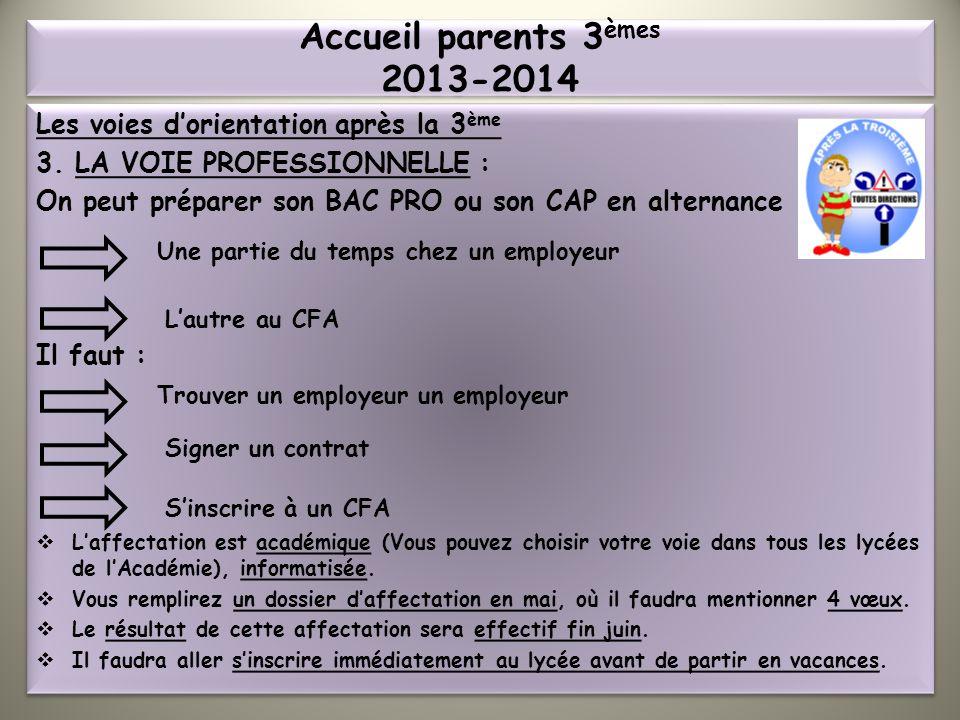 Accueil parents 3èmes 2013-2014 Les voies d'orientation après la 3ème