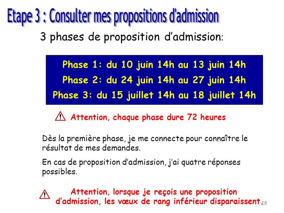 Etape 3 : Consulter mes propositions d admission