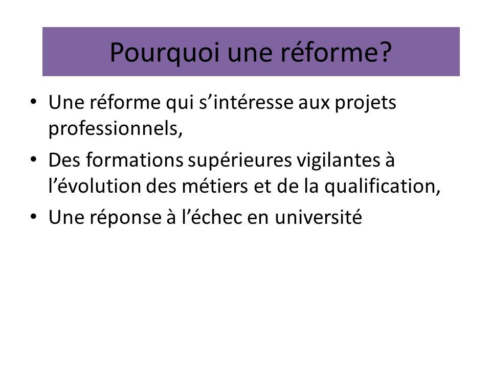 Pourquoi une réforme Une réforme qui s'intéresse aux projets professionnels,