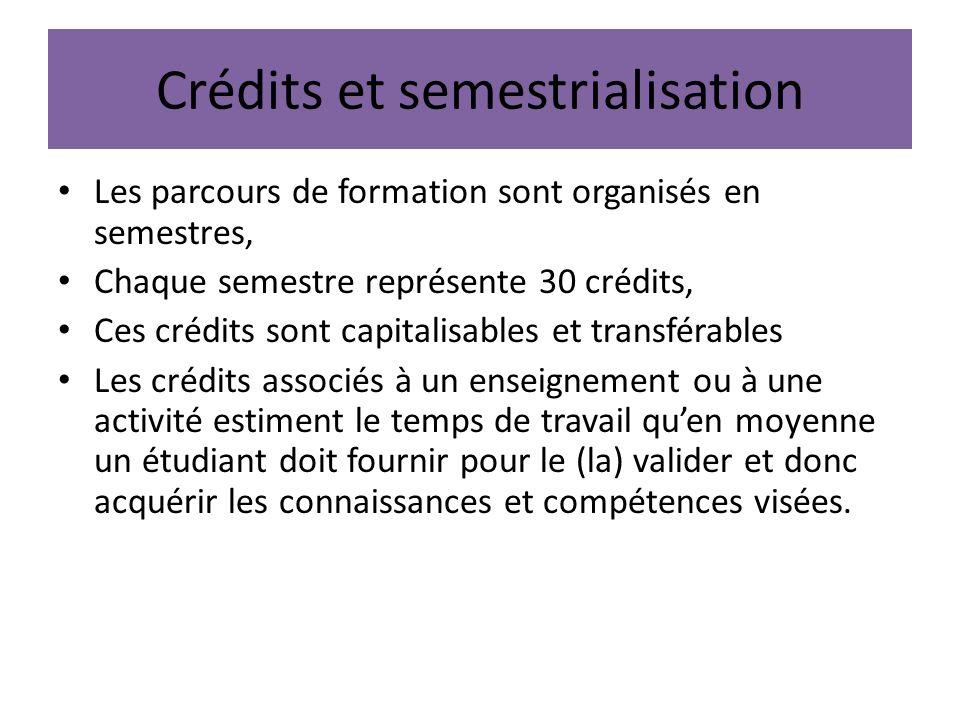 Crédits et semestrialisation