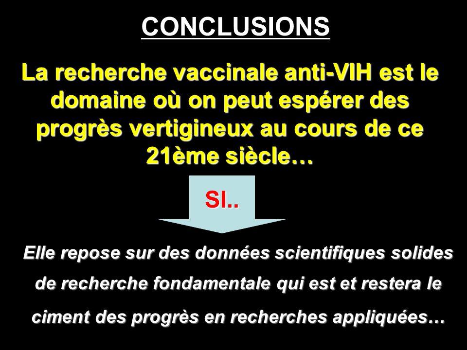 CONCLUSIONS La recherche vaccinale anti-VIH est le domaine où on peut espérer des progrès vertigineux au cours de ce 21ème siècle…