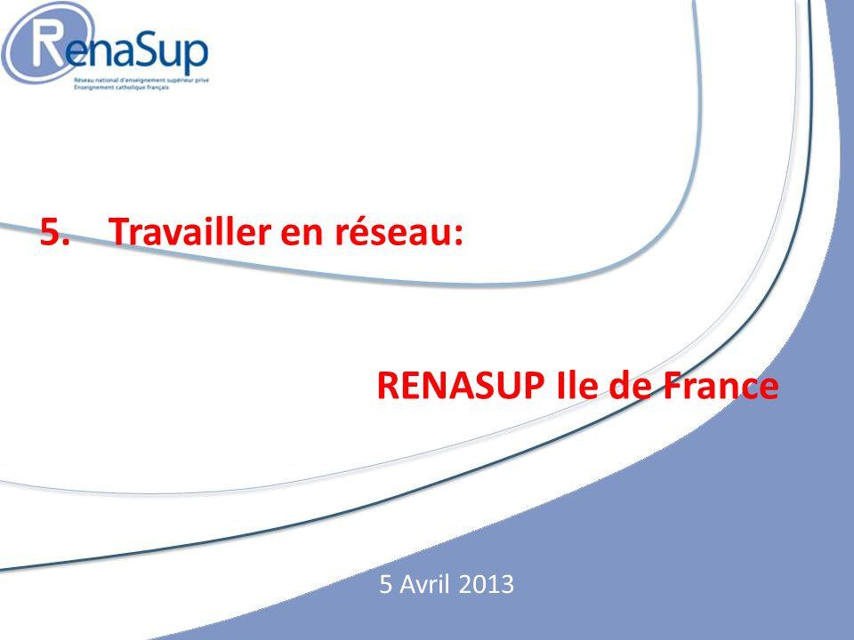 Travailler en réseau: RENASUP Ile de France 5 Avril 2013