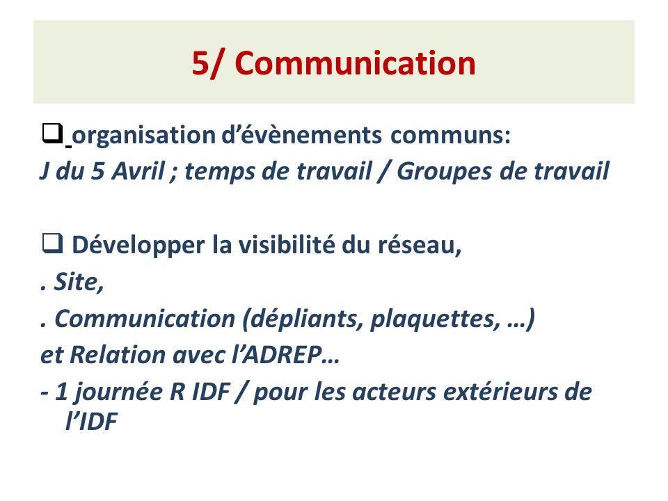 5/ Communication organisation d'évènements communs: