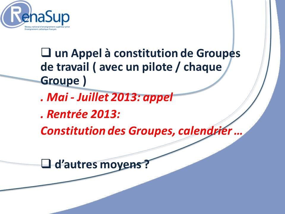 un Appel à constitution de Groupes de travail ( avec un pilote / chaque Groupe )