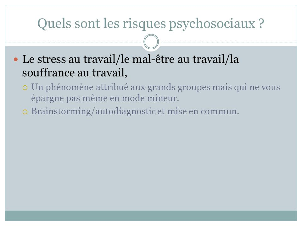 Quels sont les risques psychosociaux