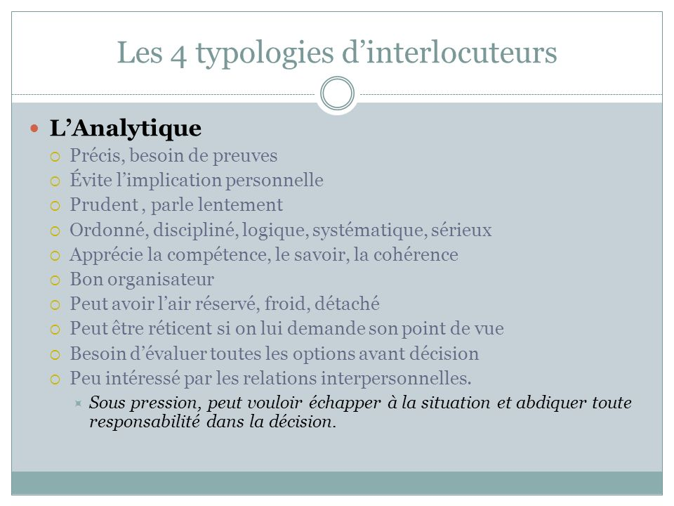 Les 4 typologies d'interlocuteurs