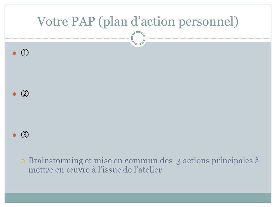 Votre PAP (plan d'action personnel)