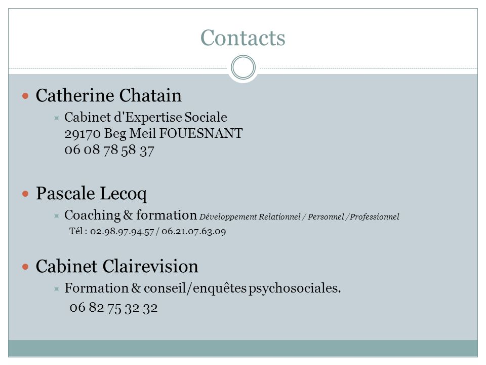 Contacts Catherine Chatain Pascale Lecoq Cabinet Clairevision