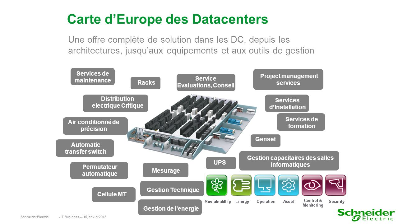 Carte d'Europe des Datacenters