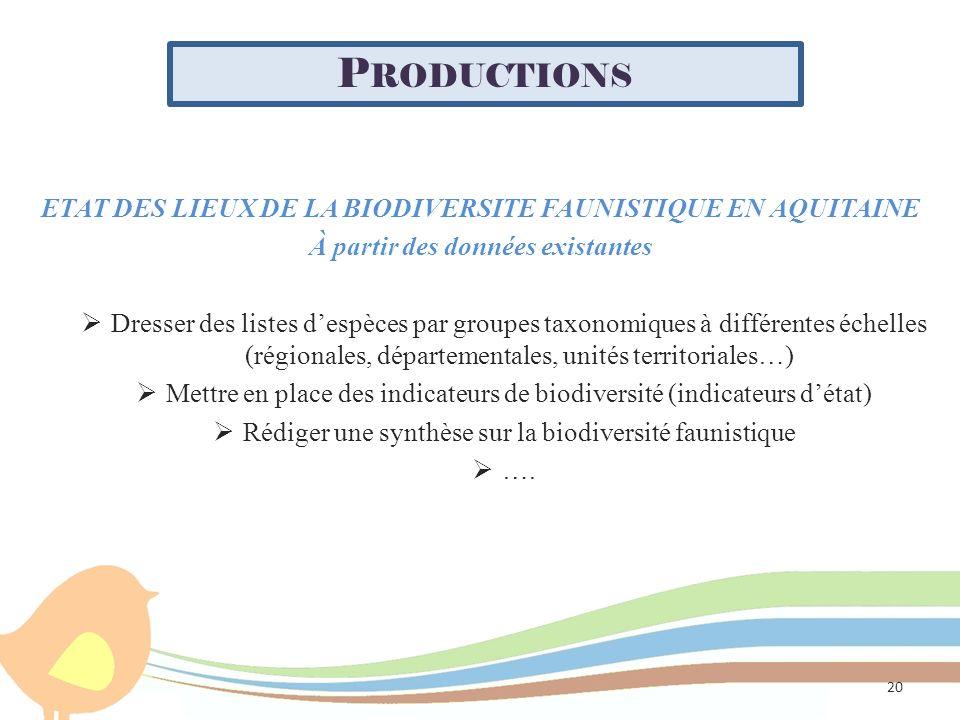 Productions ETAT DES LIEUX DE LA BIODIVERSITE FAUNISTIQUE EN AQUITAINE