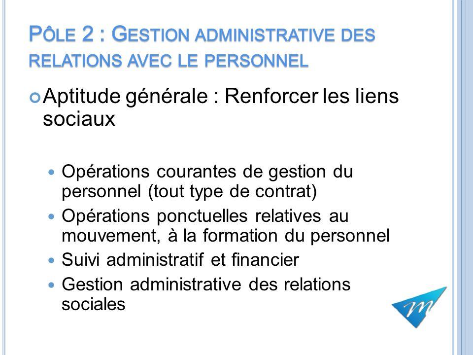 Pôle 2 : Gestion administrative des relations avec le personnel