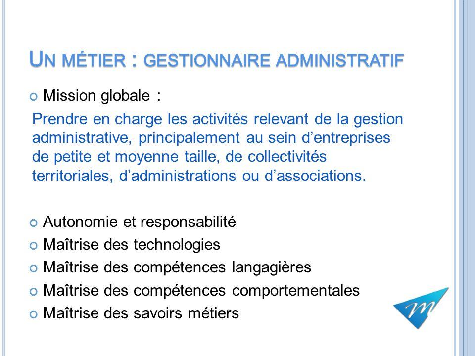 Un métier : gestionnaire administratif
