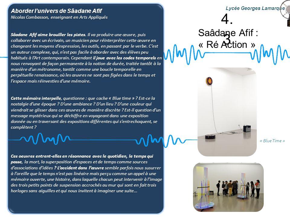 4.3 Saâdane Afif : « Ré Action » Aborder l'univers de Sâadane Afif