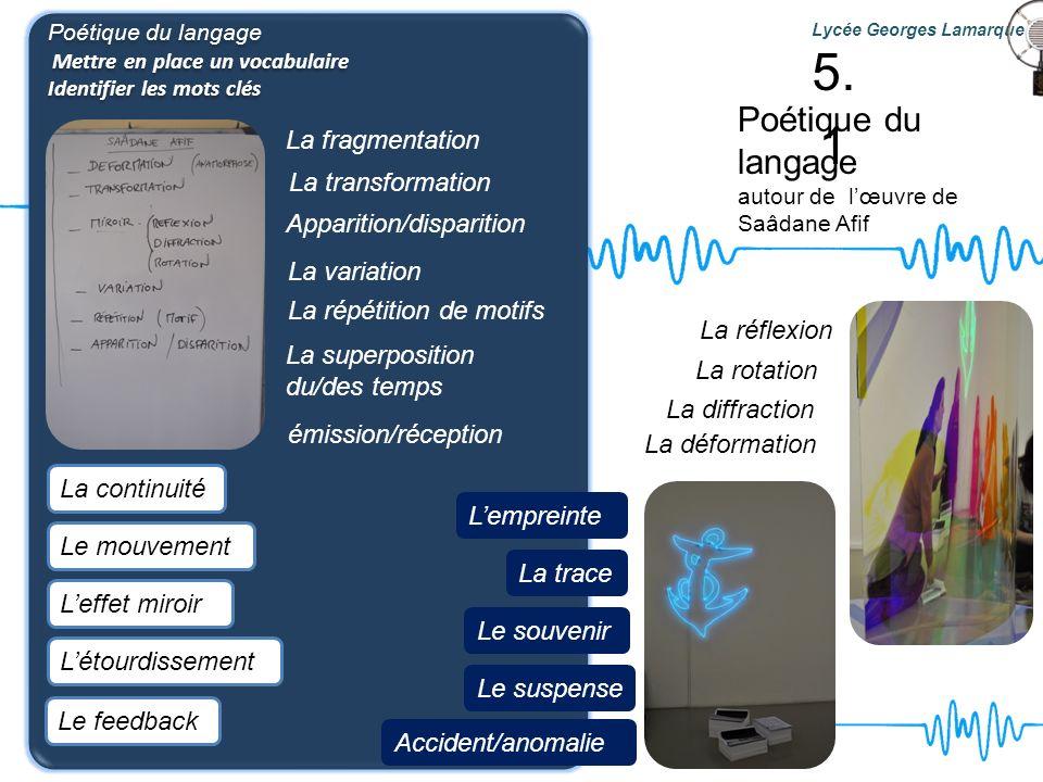 5.1 Poétique du langage La fragmentation La transformation