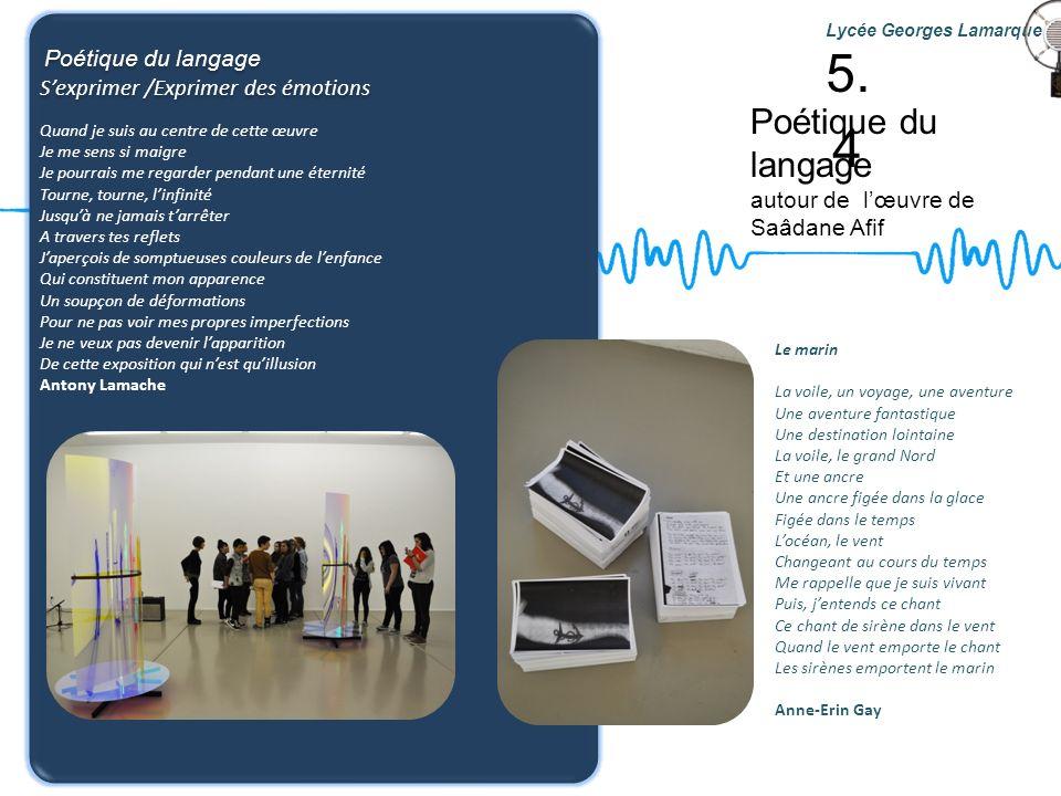 5.4 Poétique du langage S'exprimer /Exprimer des émotions
