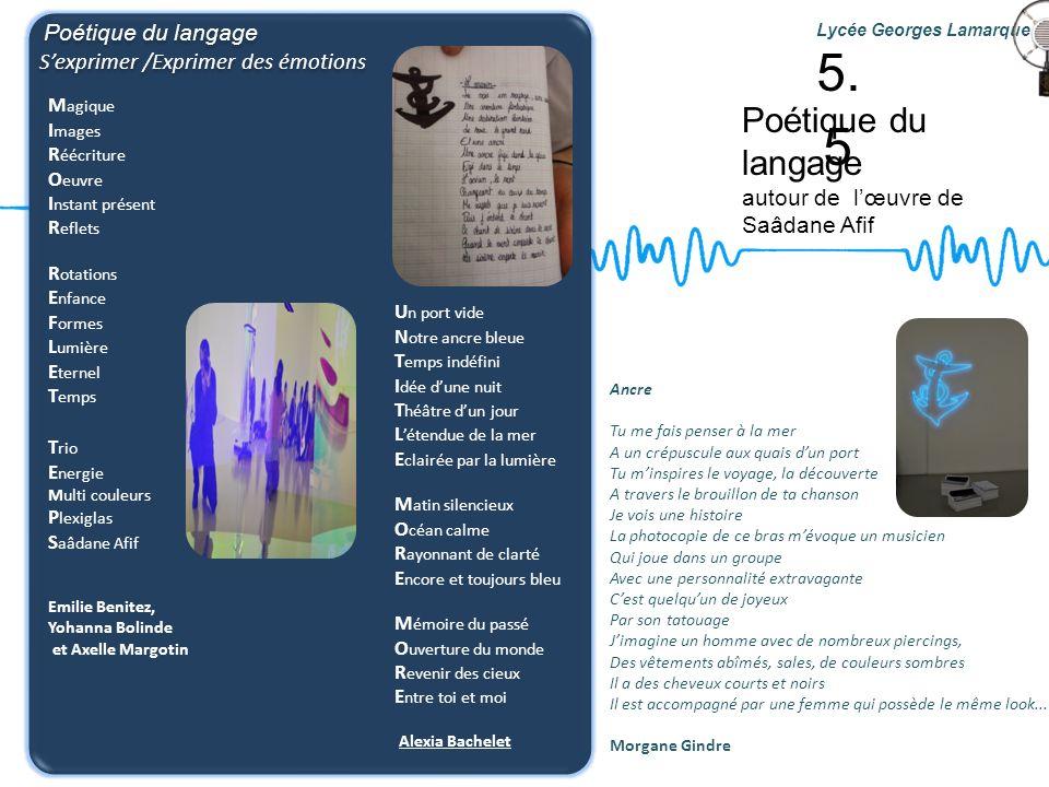 5.5 Poétique du langage S'exprimer /Exprimer des émotions
