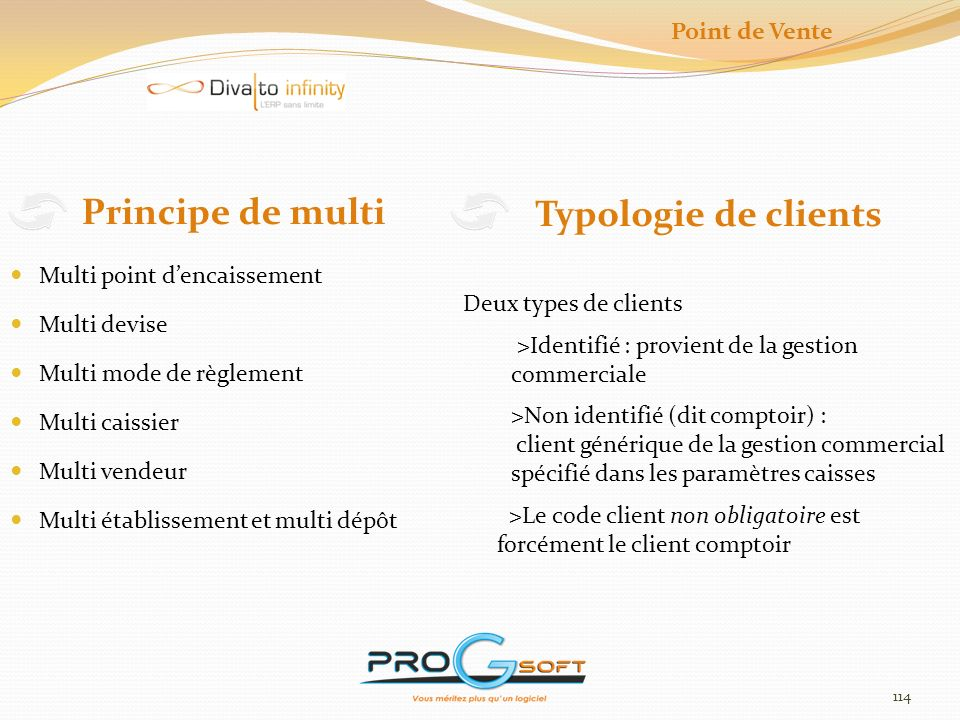 Principe de multi Typologie de clients Point de Vente