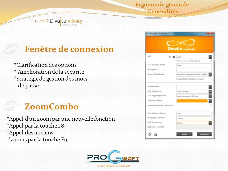 Fenêtre de connexion ZoomCombo Ergonomie générale Généralités