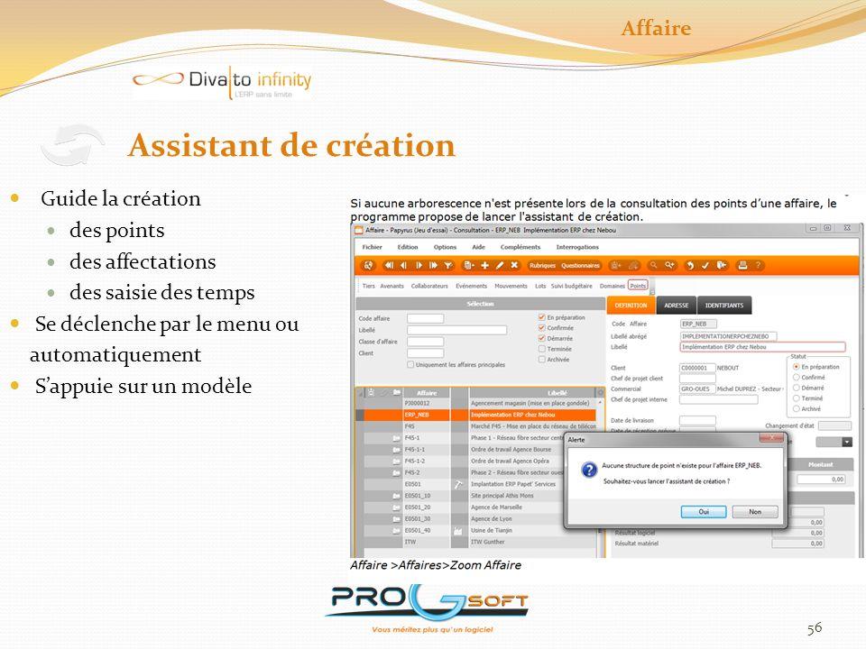 Assistant de création Affaire Guide la création des points