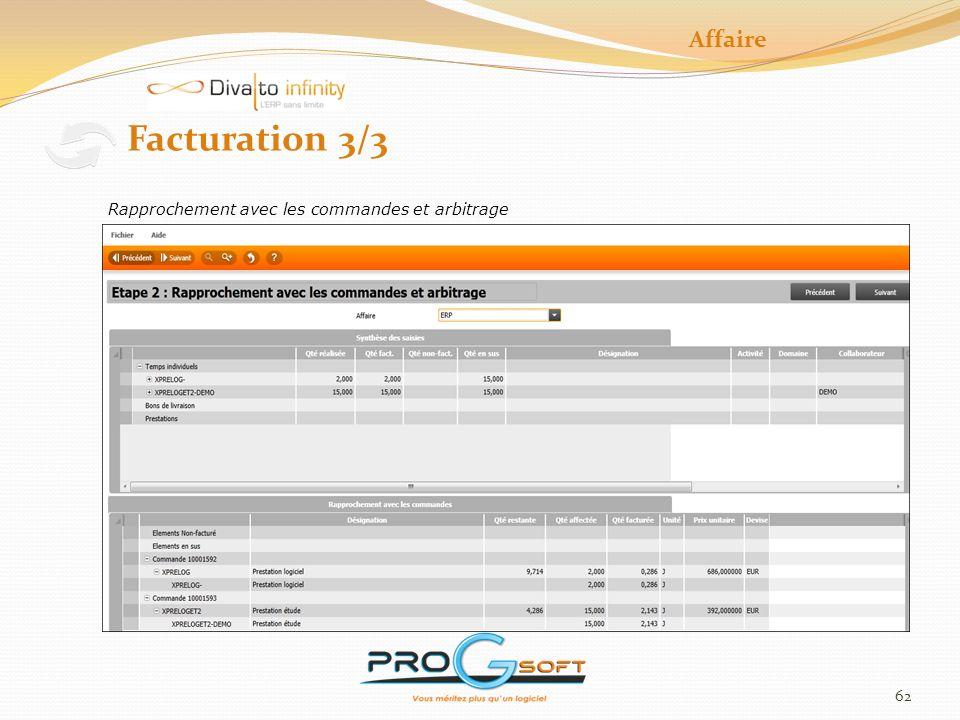 Affaire Facturation 3/3 Rapprochement avec les commandes et arbitrage