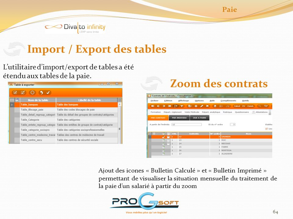 Import / Export des tables