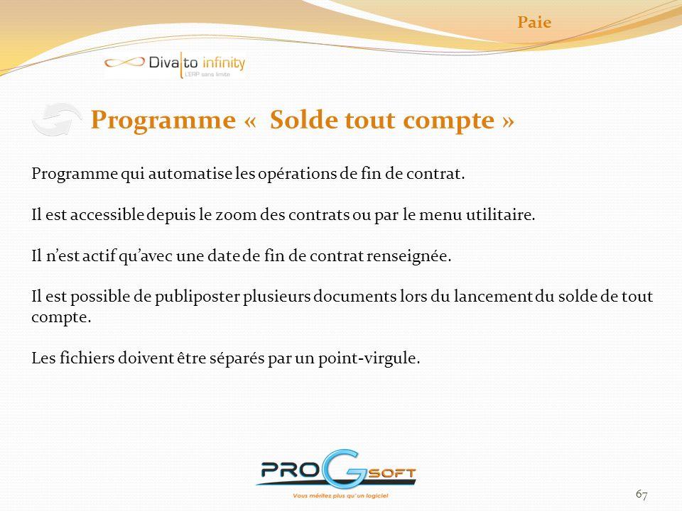Programme « Solde tout compte »