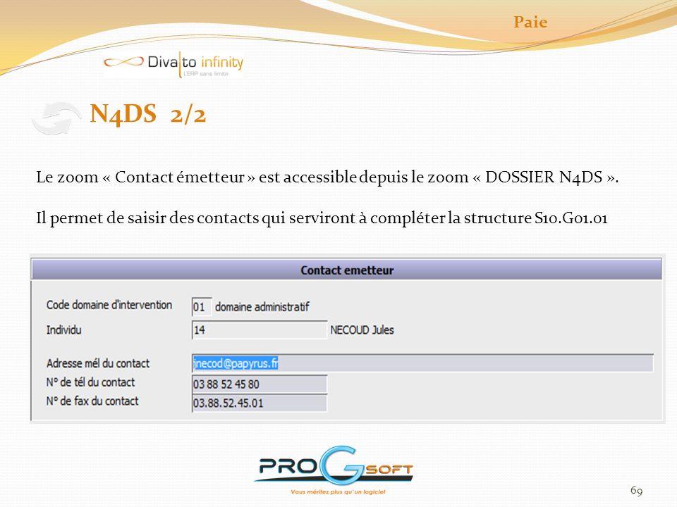 Paie N4DS 2/2. Le zoom « Contact émetteur » est accessible depuis le zoom « DOSSIER N4DS ».