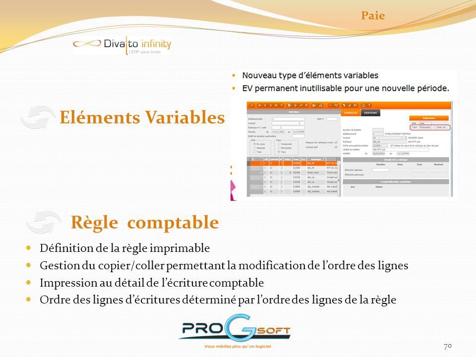 Eléments Variables Règle comptable Paie