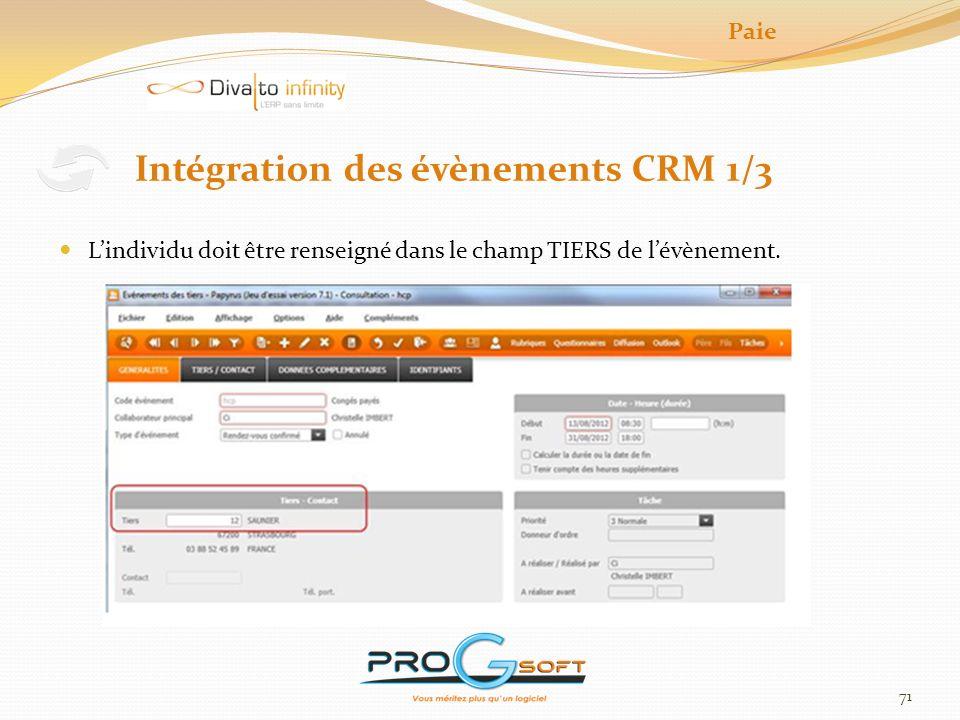 Intégration des évènements CRM 1/3