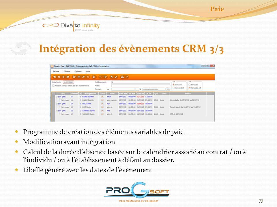 Intégration des évènements CRM 3/3