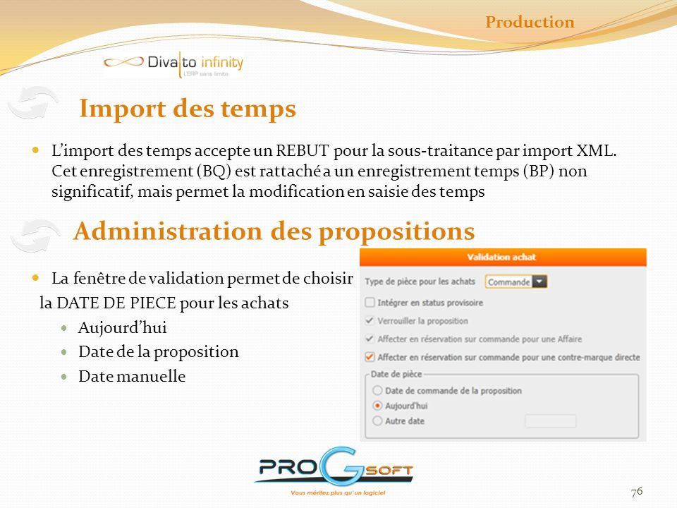 Administration des propositions