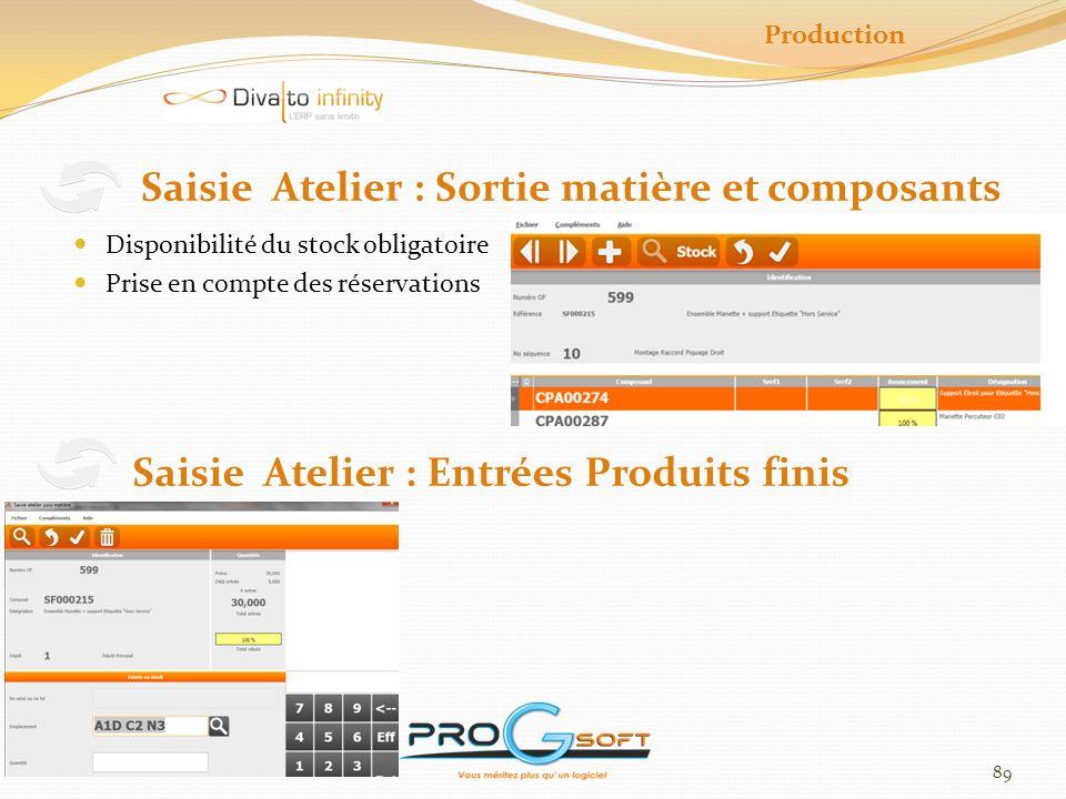 Saisie Atelier : Sortie matière et composants