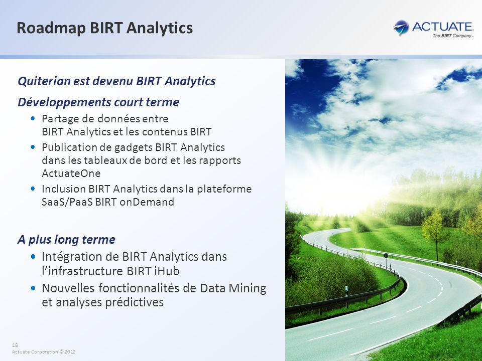 Roadmap BIRT Analytics