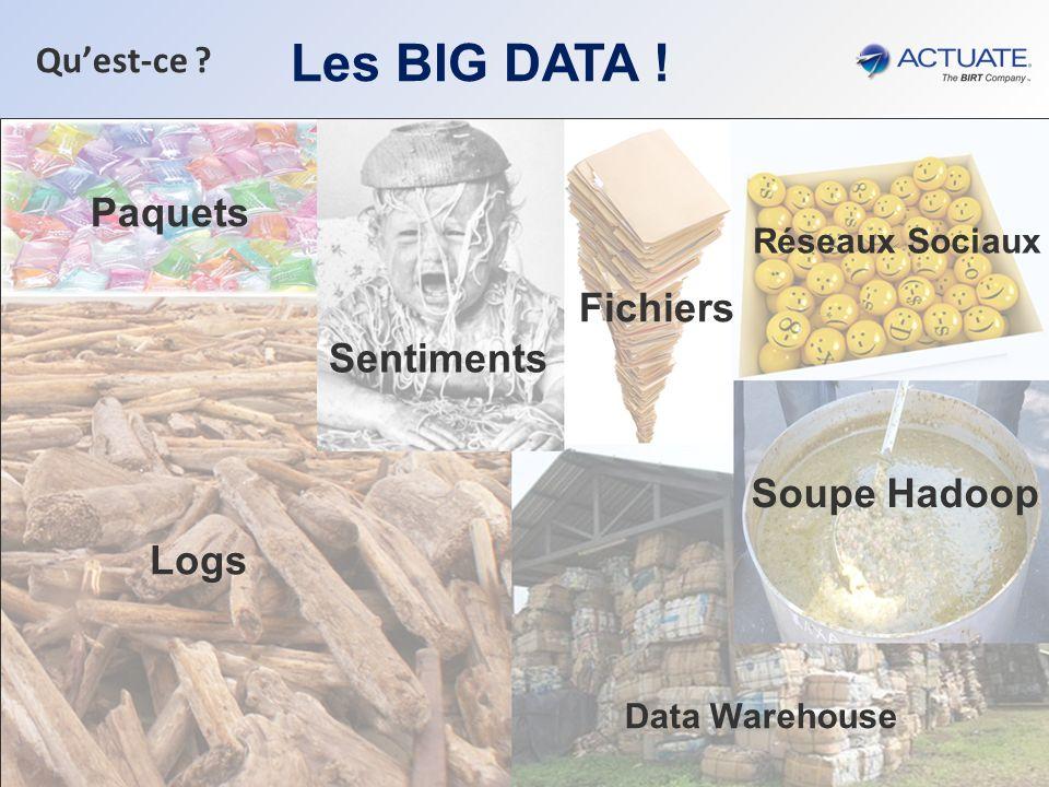 Les BIG DATA ! Paquets Fichiers Sentiments Soupe Hadoop Logs